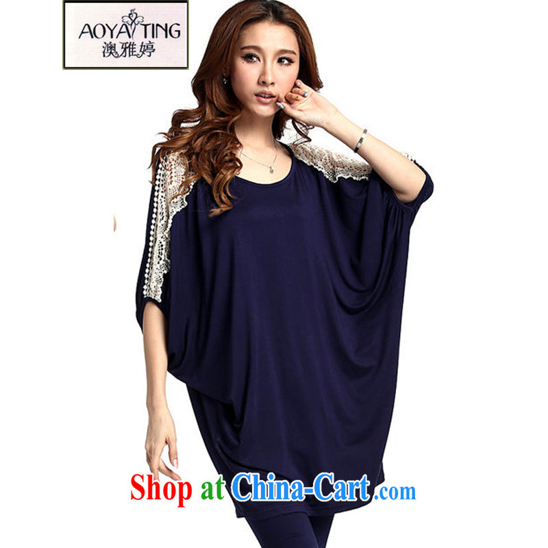 o Ya-ting 2015 New, and indeed increase, female summer thick mm video thin lace T-shirt girl short-sleeved T-shirt, blue large numbers are codes that you 100 - 200 jack