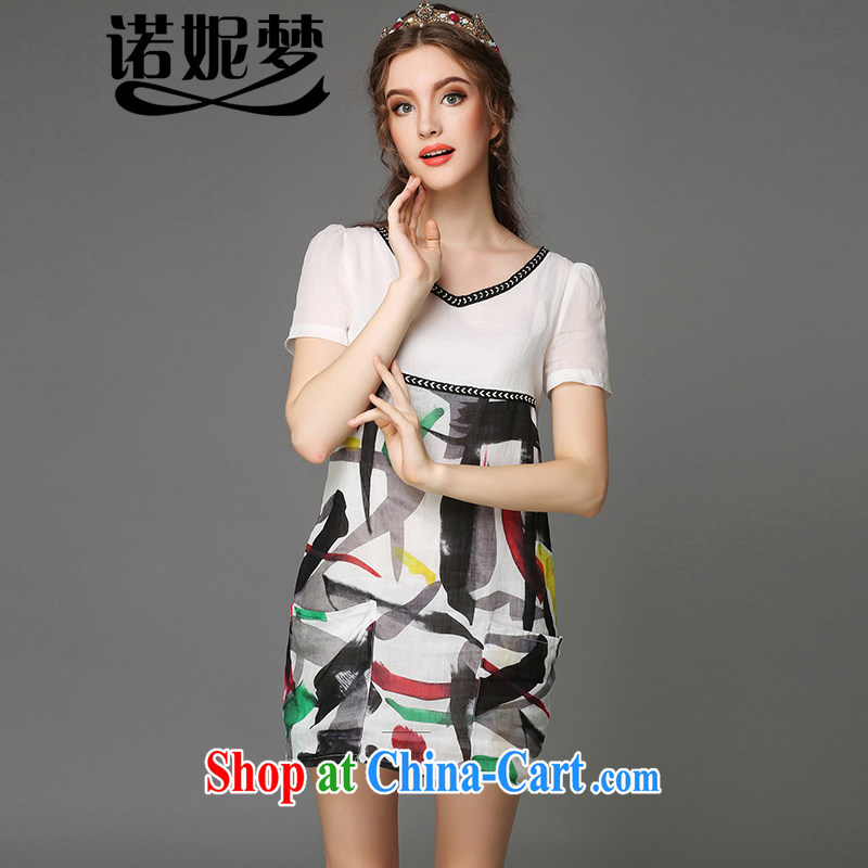 The Connie was a high-end European and American 200 Jack large, female summer is the more stylish V collar loose hit color painting the cotton dress short-sleeved G - Y 780 white XXXXL