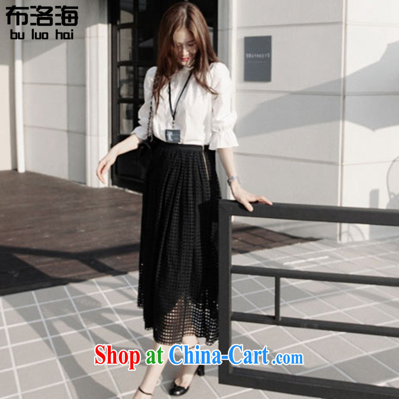 The sea 2015 summer new slim body fat MM XL female Two-piece dresses black-and-white shirt T-shirt Openwork long skirt bust dress with 555 White on Black The XXXL for 140 - 160 jack