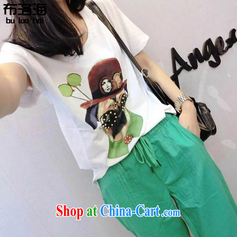 The sea 2015 summer new Korean version thick MM cartoon short-sleeved T shirt T-shirt loose tether 9 Harlan pants larger female two parts kit 5809 photo color XXXXXL for 180 - 205 jack