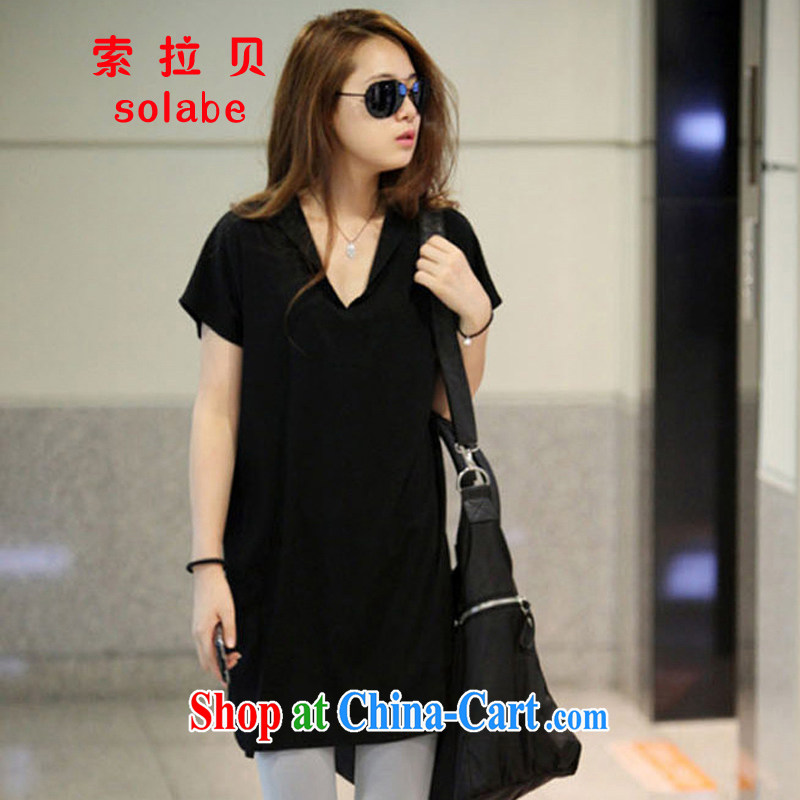 Solabe_in 2015 Addis Ababa new loose video thin and thick XL girls thick mm summer, long wave, short-sleeved T-shirt skirt black XXXL