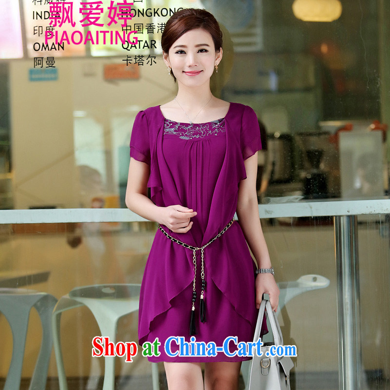 Floating love Ting 2015 summer new loose the code graphics thin sister increase women snow woven dresses lilac purple L