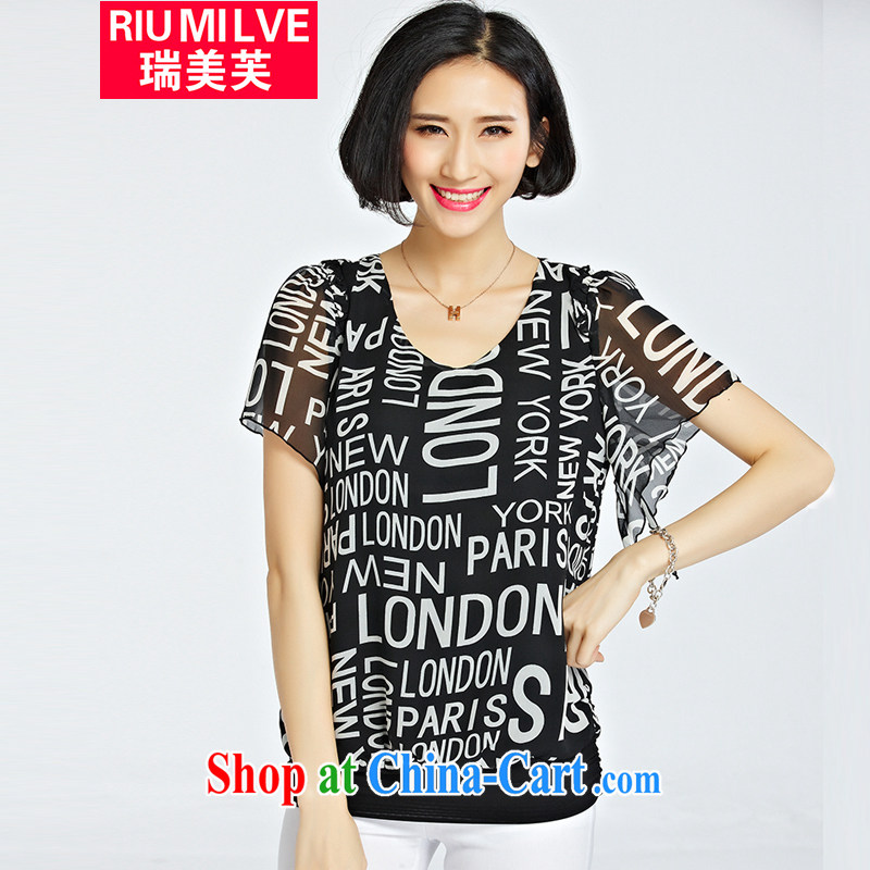 Ryan and the United States concluded the 2015 is indeed increasing, female summer new Korean version mm thick graphics thin letter stamp leisure 100 ground short-sleeved shirt T girls T-shirt 1221 black 3 XL _recommendations 140 - 155 jack_