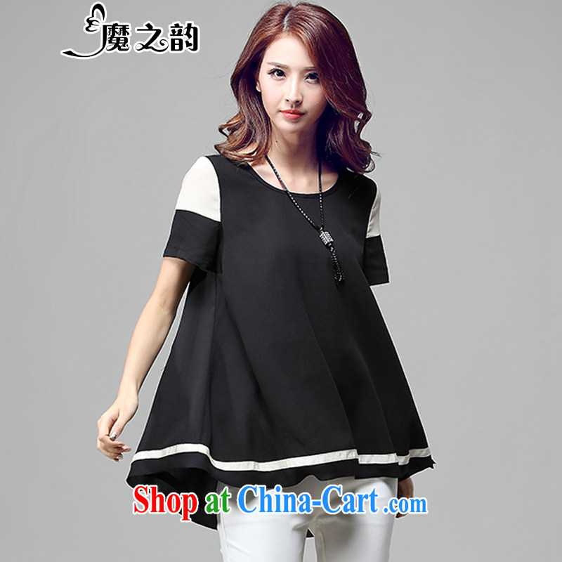 Magic of the larger female summer T shirts and indeed increase Korean sweet relaxed casual graphics thin ice woven shirts T-shirt 85,023 black XXXL
