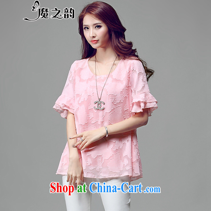 Magic of the larger female summer is the increased emphasis on sister fat, Video thin, Korean lax T shirts snow woven shirts T-shirt 85,021 pink XXXXL