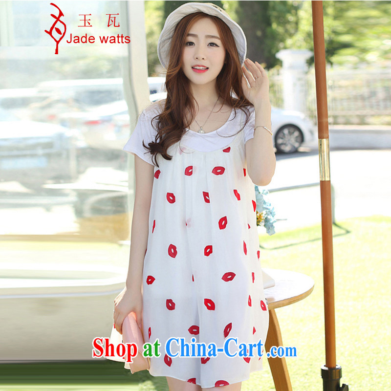Yu-W 2015 summer edition won the Code women pregnant women snow woven shirts, long, pregnant women dresses 4017 white red lips XL large a code