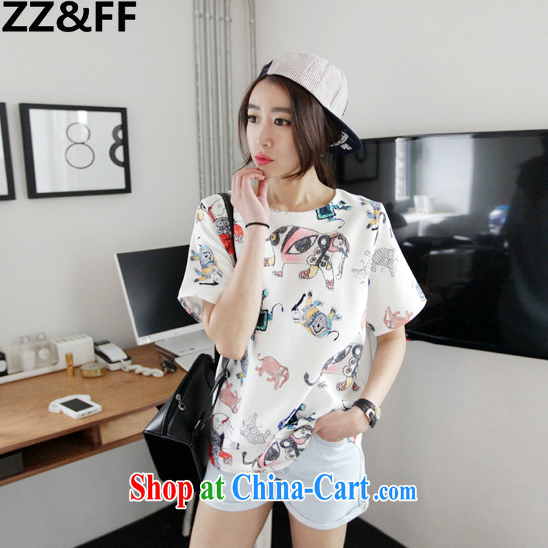 ZZ &FF 2015 larger female Jack 200 mm thick king in long T shirt solid shirt stamp loose summer clothes female white XXXL