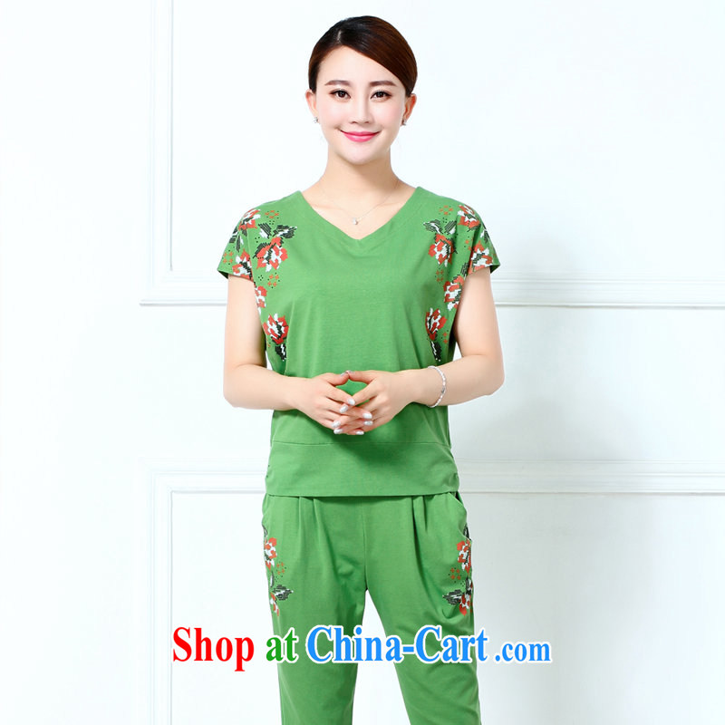 T-shirt + pants older female Summer Package the middle-aged, Mom loaded summer two-piece with older persons cotton T shirts sport and leisure package green XXXL
