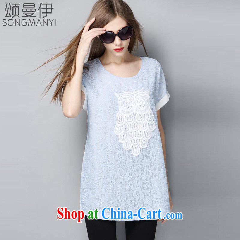 Also, the 2015 summer new centers in Europe and America mm stylish loose the code graphics thin T pension women 9090 blue XXXXXL
