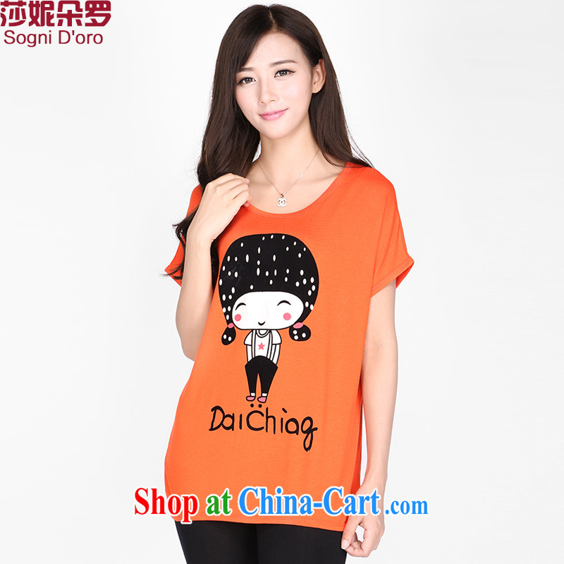 Laurie flower Luo, female T-shirts loose stamp duty thick sister summer and the overweight girl with graphics thin, T-shirt girl 2173 red-orange 6 XL