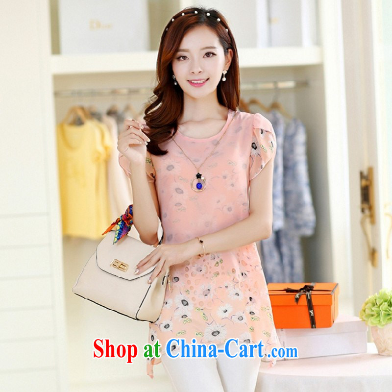 Political poetry 2015 new European site cool short-sleeved large, loose stamp duty snow woven shirts pink M .
