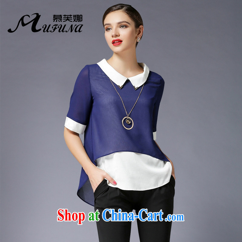 The summing up, 2015 thick sister larger female summer new Pure color dolls for popular hit-color loose T shirt T-shirt 4-Color optional 3393 BMW blue XL