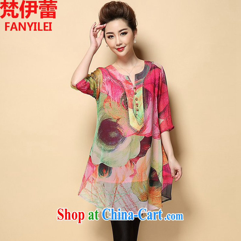 Vincent van Gogh, ballet 2015 summer new, larger female middle-aged mother with loose silk stamp hot drill middle-aged and older dresses picture color XXXXL