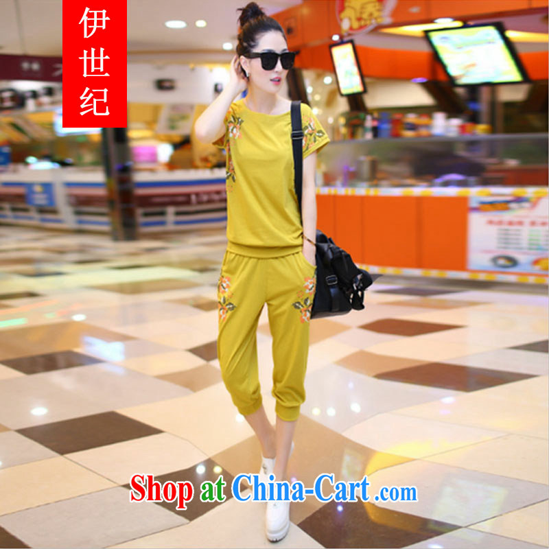 The century Code women mm thick 2015 summer bat T-shirt thick sister stylish lounge suite uniforms B 281 yellow XXXXL