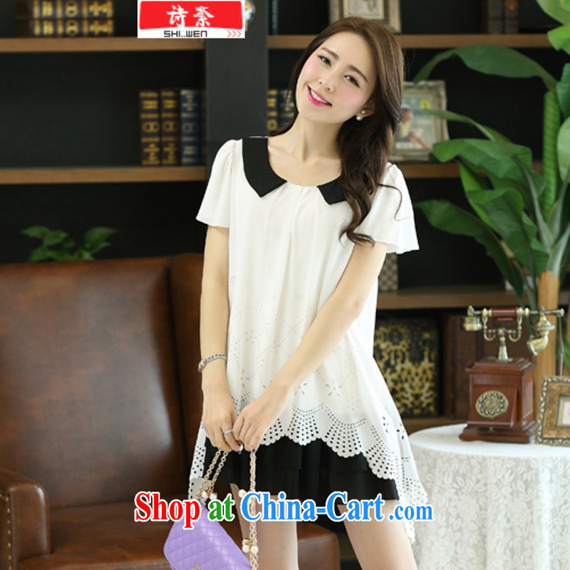 9316 _2014 summer new Korean Beauty dolls for biological empty burning take short-sleeved larger graphics thin ice woven dresses white XXXXL