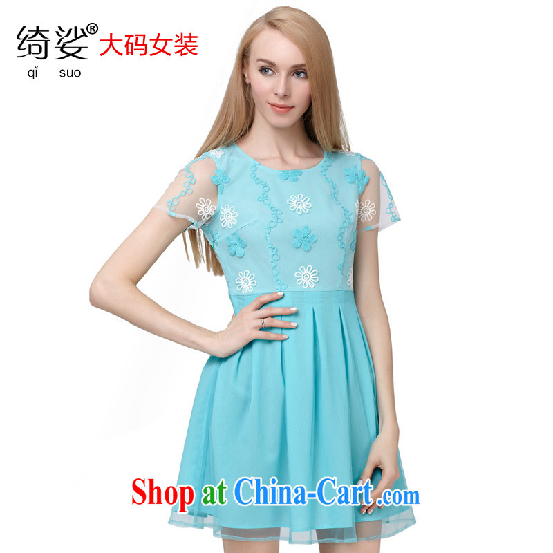 cheer for the code's 2015 summer new emphasis on cultivating MM graphics thin sweet lace short sleeve large code dress 2852 blue 3 XL