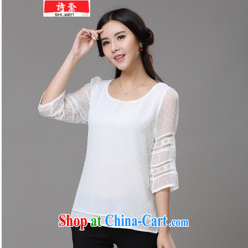 Ms Elsie Leung, politically 2015 summer new Snow-woven T-shirt Korean women cuff in_5 cuff lace solid shirt female snow woven shirts white S