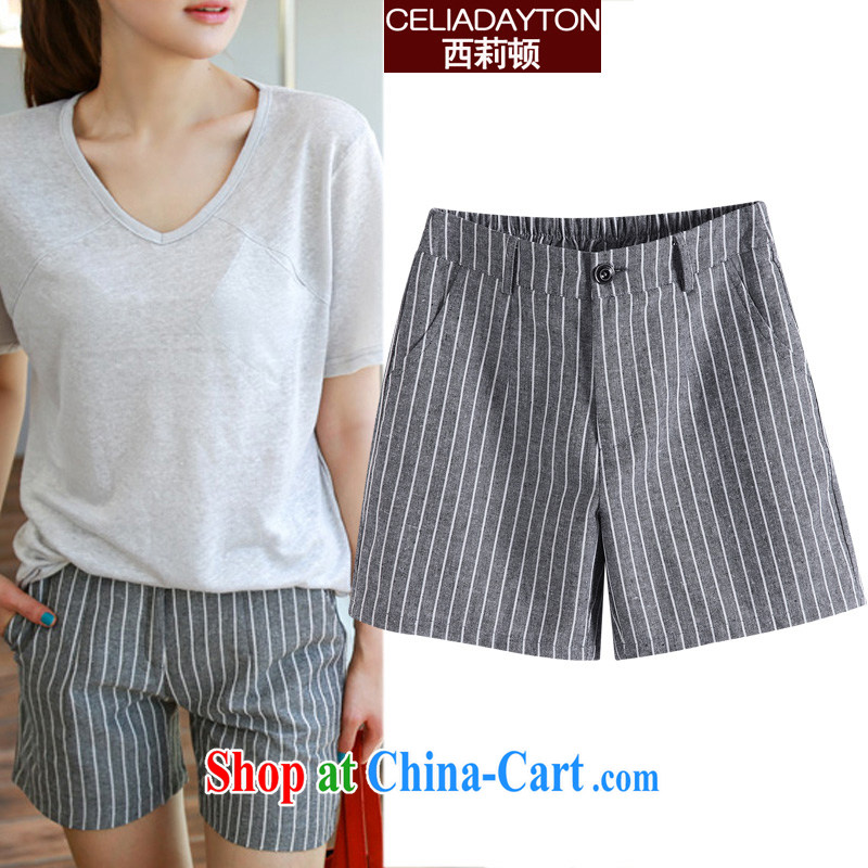 Ms. Cecilia Clinton's larger female short pants 2015 new thick mm sister summer Korean leisure Ms. Yau Ma Tei cotton shorts girl hot pants stripes 200 Jack loose A field striped short 5 XL