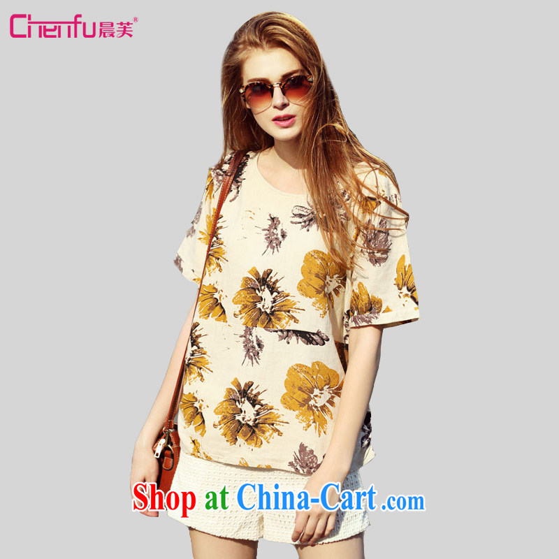 Morning would be 2015 summer new Europe and indeed the XL women mm thick 100 ground loose video thin knocked color linen Daisy stamp T shirt T-shirt icon color 4 XL