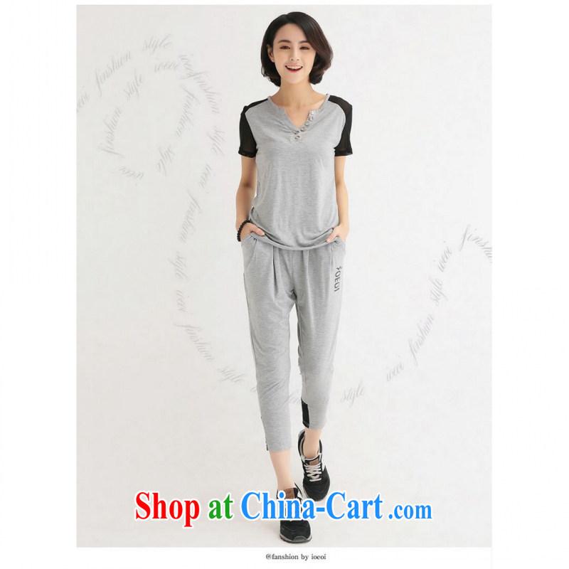 The package mail 2015 Korean summer new sleek style Leisure XL thick MM Sau San video thin women stamp stitching sportswear gray 4 XL