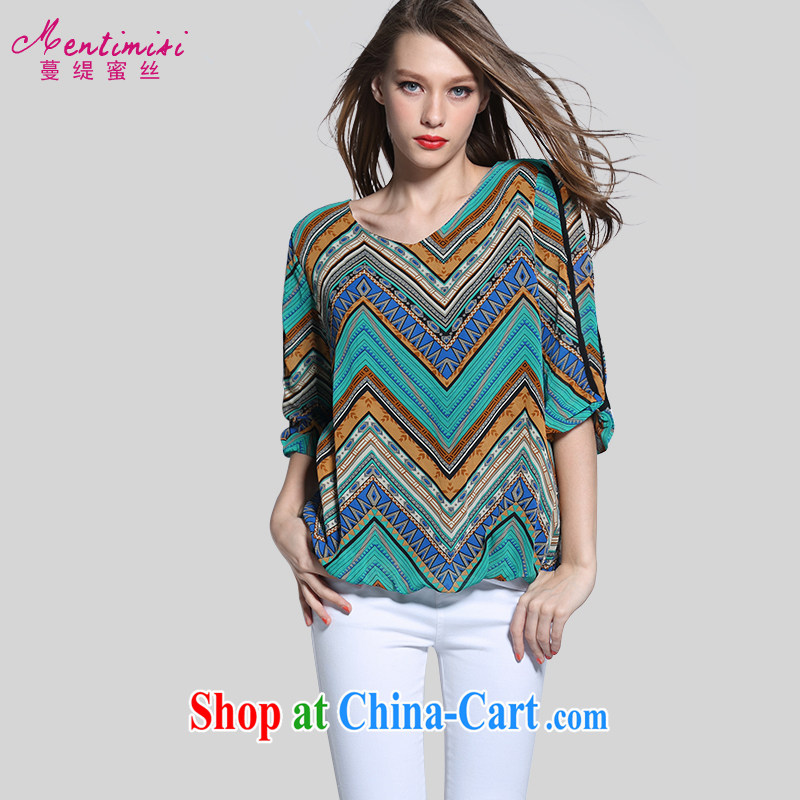 Staff of the United States and Europe, female summer is indeed the XL thick sister stylish stamp duty cuff in loose snow T woven shirts 6154 picture color the code 3 160 XL about Jack