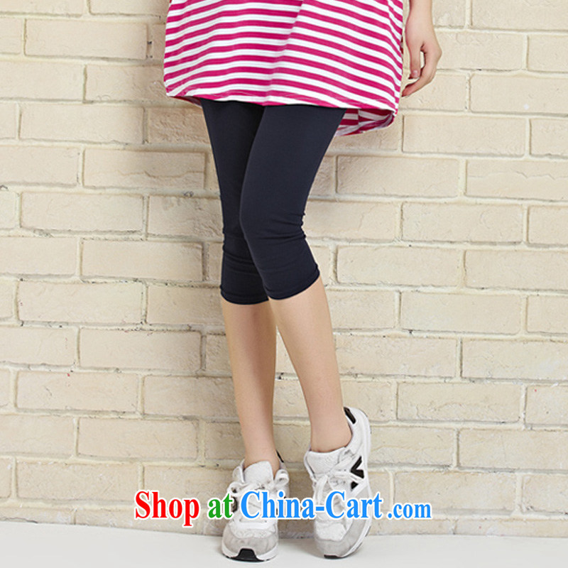 o Ya-ting 2015 New, and indeed increase, female summer thick mm video thin 7 pants girls summer wear, stretch thin female trousers dark blue XXL