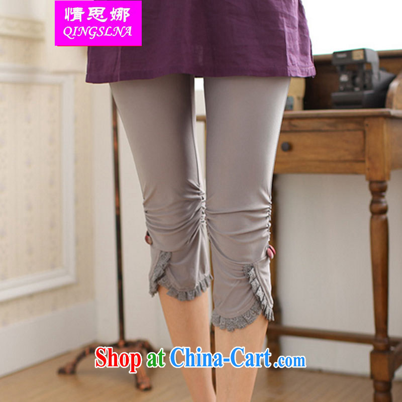 The situation of 2015, wearing stretch pants solid anti-Go summer Korean thin thick mm XL beauty graphics thin lace edge 7 pants light gray XL