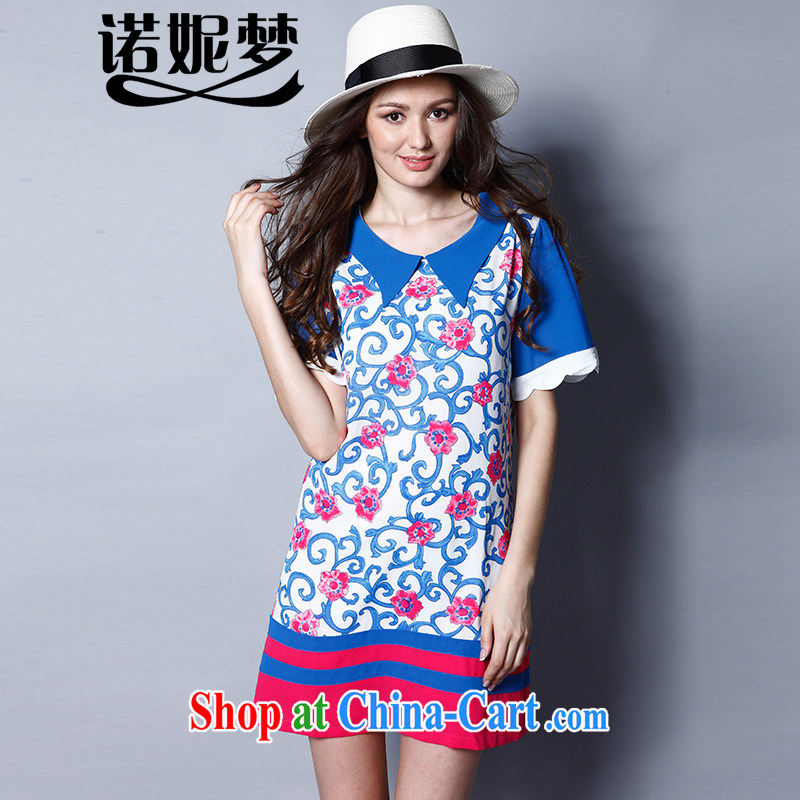 Connie's dream in Europe and the Code women summer 2015 new thick mm fashion doll short-sleeved stamp dress J 8228 blue XXXL