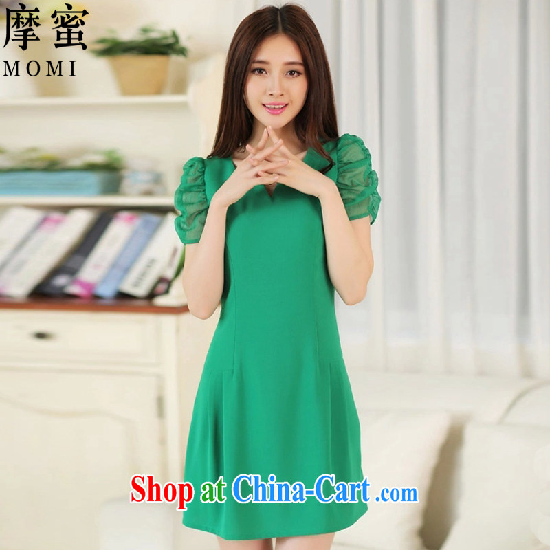 American Samoa honey summer 2015 mm thick Korean at OL beauty of Yuan small incense in the wind long, elegant lady aura dresses DM 29 green XXXXL