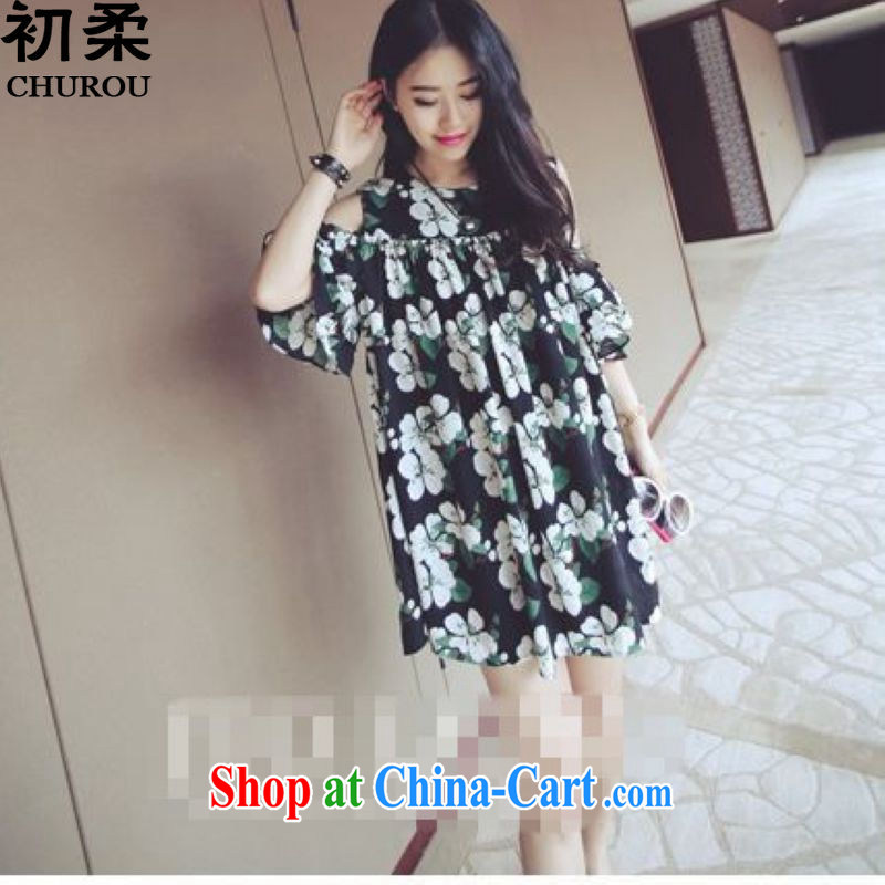 Flexible early 2015 summer edition won the Code women mm thick graphics thin the waist 200 Jack floral terrace shoulder cuff dress black XL