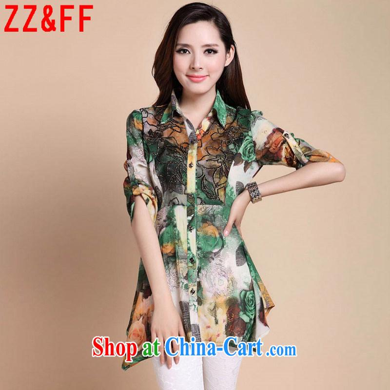 ZZ _FF 2015 summer new, larger female, long, 7 cuff stamp snow woven shirts girls summer 1870 XF green XXXXL