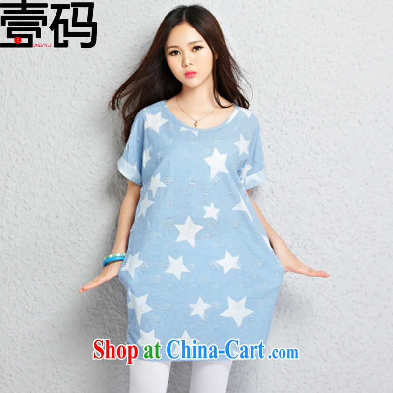 National Code 2015 summer New Trend 5 star lovely relaxed round collar T-shirt TW 2375 light blue M
