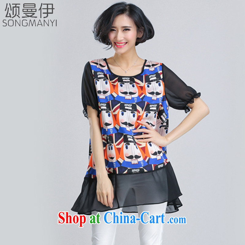 Also, the 2015 summer new women with thick MM card Satin stamp graphics thin short-sleeved shirt T women 6082 picture color A XXXXL paragraph