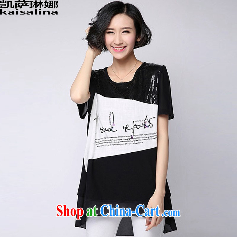 Catherine's 2015 summer new Korean version mm thick loose the code female snow woven stitching short-sleeved shirt T female summer black L