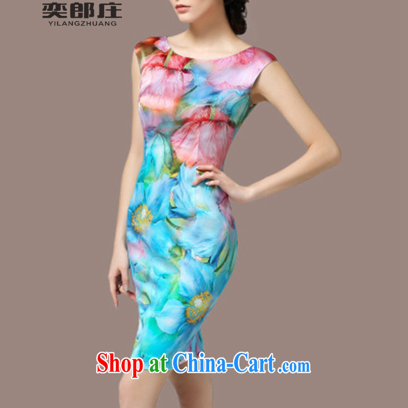 Sir David WILSON, Zhuang 2015 summer new female stamp beauty dresses larger graphics thin skirt 8209 water blue positioning take S