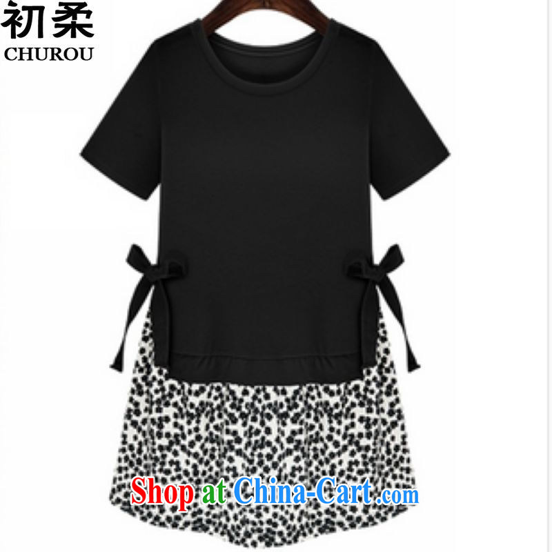 Flexible early summer 2015, mm thick and fat increases, female 200 Jack thick sister graphics thin summer clothing even skirt black XXXL
