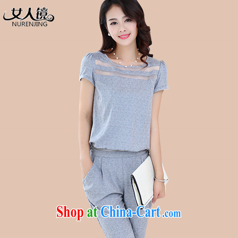Women mirror 2015 short-sleeved ladies cotton ma Two-piece 7 Harlan-trousers _N 6392 gray XXL