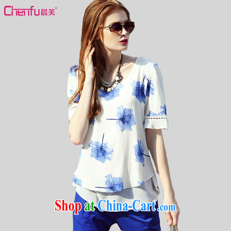 Morning would be the fat XL female new 2015 summer lax in Europe and leave the bubble sleeves shirt T mm thick sweet knocked color stamp snow woven shirts T-shirt white 4XL
