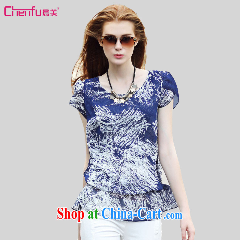 Morning would be 2015 Plus is indeed increasing, female summer new Europe loose round-collar snow T woven shirts on 100 mm ground collision aura color stamp snow woven shirts T-shirt blue 4 XL