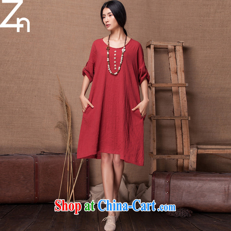 ZN Yau Ma Tei cotton Dress Shirt 618 urged the new single snap loose soft simple sum girl, temperament style volume long-sleeved handsome, large, blouses wine red are code
