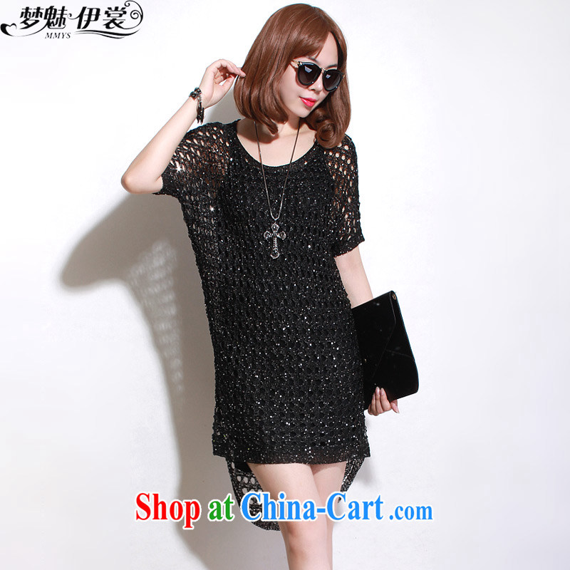 Director of the Advisory Committee summer Korean version is indeed the XL women mm thick, biological air long knitted T-shirt dress short-sleeved suits skirt Black _single layer_ loose all code