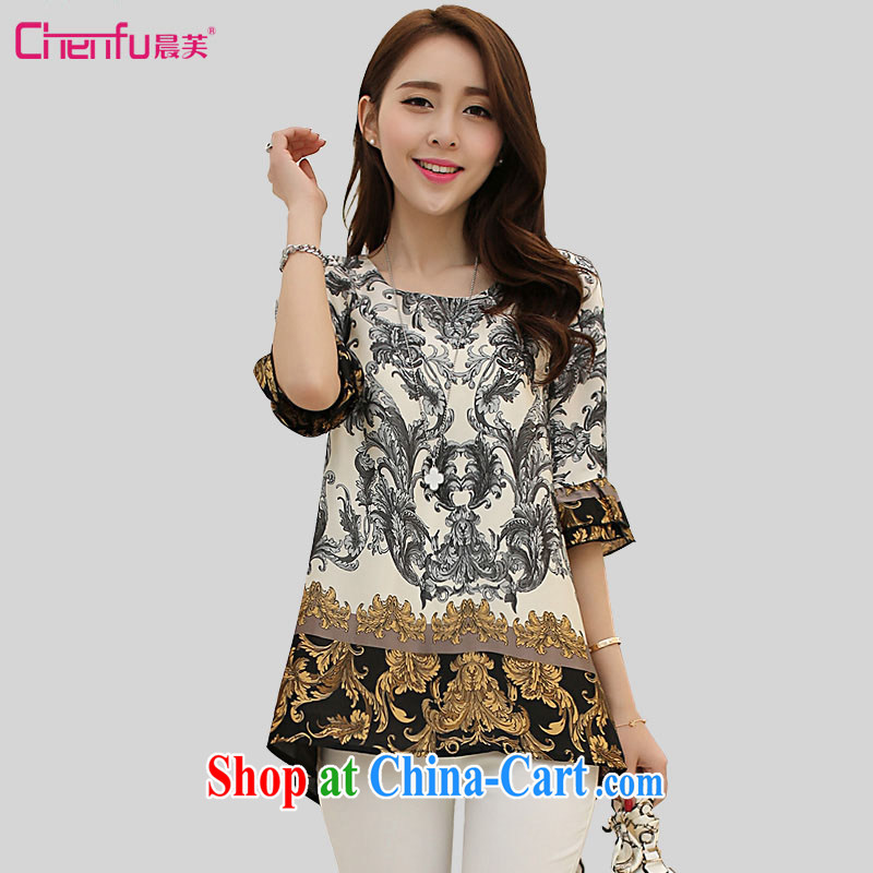 Morning would be won by 2015 and indeed increase, female summer thick sister retro flouncing cuff cuff in upscale luxury palace stamp graphics thin ice woven shirts T shirt T-shirt suit 5 XL _recommendation 180 - 200 jack_