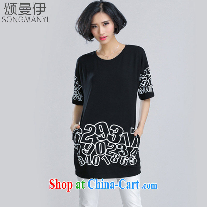 Also, the 2015 summer NEW GRAPHICS thin with thick mm letter the code stamp short-sleeved, long T pension women 6099 black XXXXL