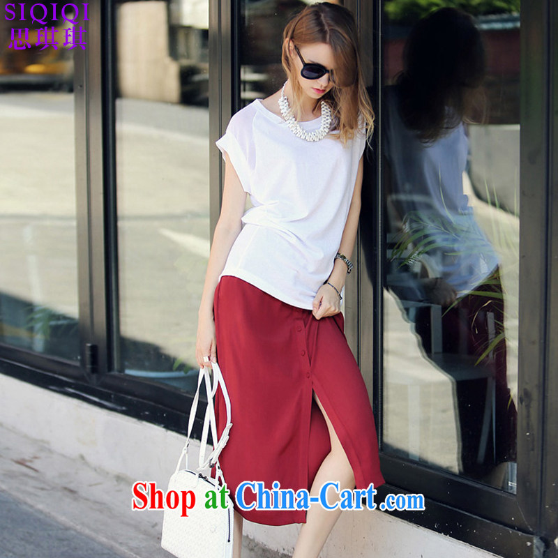 The Qi Qi (SIQIQI) 2015 summer new thick mm beauty graphics thin T-shirt + red skirt in two-piece TZ 1050 photo color 5 XL