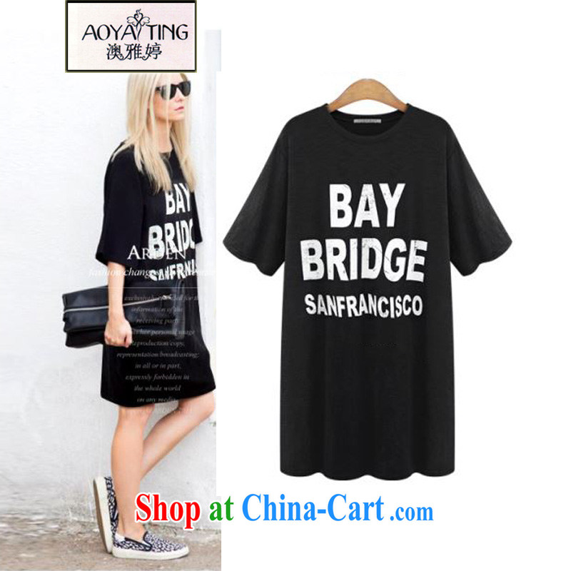 o Ya-ting 2015 New, and indeed increase, female summer mm thick short-sleeved T shirt graphics thin dresses black 4XL recommends that you 160 - 200 jack
