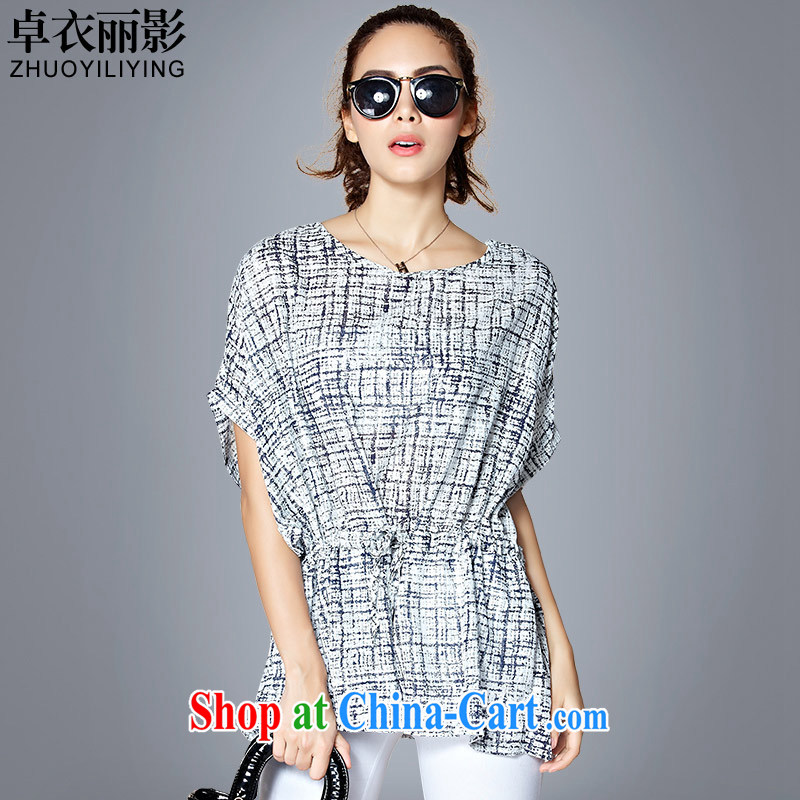 Mr Cheuk Yi Lai Ying 2015 summer new expertise, Ms. mm larger bat sleeves snow woven shirts loose video thin grid stamp collection waist breathable shirt T-shirt 66,010 black on white, blue, M recommended 85 - 100 jack