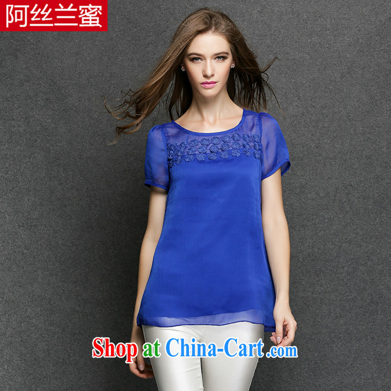 The silk, honey XL girls thick MM graphics thin summer three-dimensional flowers and shoulder cultivating T pension ZZ 3395 blue 2 XL (135 jack - 149 Jack through)