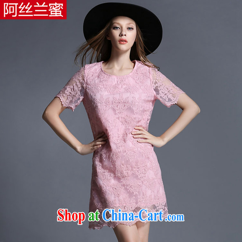 The silk, honey XL girls thick MM graphics thin summer Openwork lace embroidery beauty dresses ZZ 1906 pink 2 XL (135 jack - 149 Jack through)
