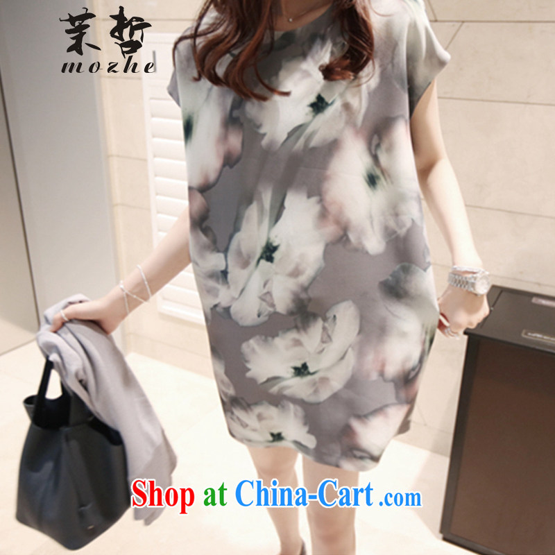 Energy-chul 2015 new women summer Korea Polytechnic leisure large code female loose video thin ink stamp flowers dress picture color XXXL