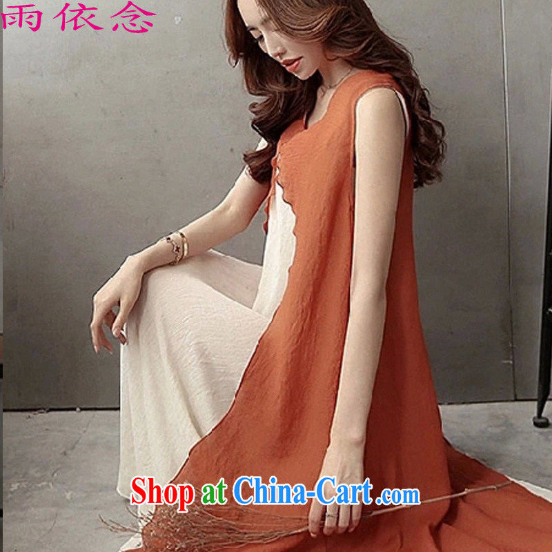 RAIN IN ACCORDANCE WITH idea 2015 new women retro art cotton Ma dresses summer long skirt loose the code leave of two part linen skirt 8539 orange M